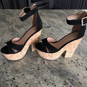 Wild diva lounge corkscrew platform wedge sandals.